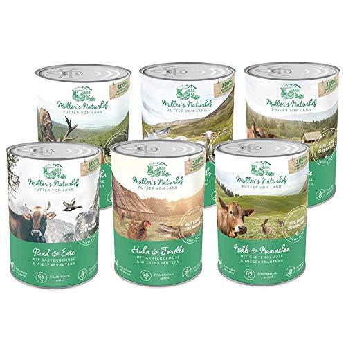 Müllers Naturhof | Mix | 6 x 400 g | Nassfutter für alle Hunderassen | getreidefrei und glutenfrei | mit Gartengemüse und Wiesenkräutern | naturnahe Rezeptur mit 65% Fleisch -