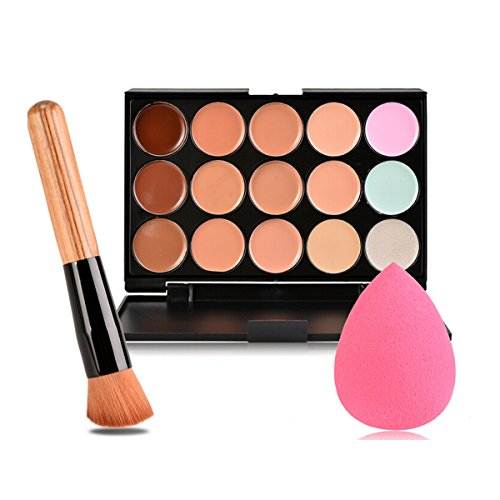 PIXNOR 15 Couleurs Palettes de Maquillage Anti-Cernes Correcteurs + Pinceau de Maquillage + Maquillage éponge Puff