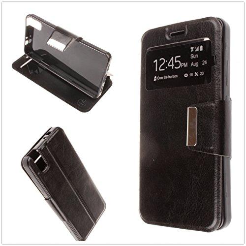 MISEMIYA - Hüllen Taschen Schutzhülle Cover für Huawei Shot X/Huawei Honor 7i - Hüllen, Cover View Buch Stütz,schwarz