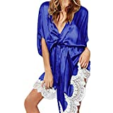 MORCHAN ❤ Femmes Sexy en Soie Kimono s'habiller Babydoll Dentelle Lingerie Ceinture Bain Robe de Nuit Soutien-Gorge sous-vêtements Costume du Corps vêtements de Nuit(XL,V-Bleu)