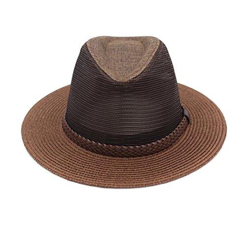Zxwzzz Hüte Huts Sonnenhut Herren Sommer großen Hut Mesh atmungsaktiv Coole Hut lässig Jazz Hut (Color : G, Size : M(57-58cm))