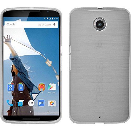 PhoneNatic Case für Google Nexus 6 Hülle Silikon weiß, brushed + 2 Schutzfolien