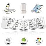 IKOS Bluetooth Tastatur, Drahtlose Tragbare Faltbare Handy Tastatur QWERTY UK US Layout, Mini Klein BT Klappbar Deutsche Tastatur für iPhone iPad iOS, Windows undTablets Android Smartphone