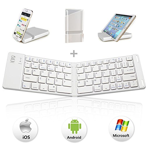 Faltbare Bluetooth Tastatur, IKOS Ultra-Slim Tragbare Bluetooth 3.0 Tastatur [QWERTZ Deutsch-Layout] für iOS / Windows  Android Geräten : iPhone x 8 7 6s 6 Plus, Samsung, iPad Pro / Air / Mini , Smartphone, Tablets (Smart-tv Sony-klein,)