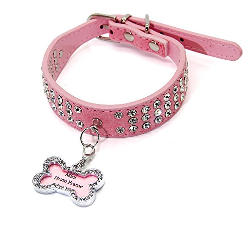 PET SPPTIES Hundehalsband Strass Strasshalsband PU leder Halsband Hund Welpenhalsband PS002 (Pink)