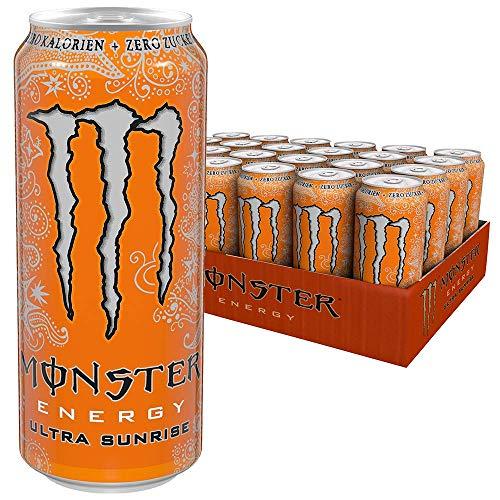 Monster Energy Ultra Sunrise mit erfrischendem, süßem Geschmack - Zero Zucker & Zero Kalorien, Energy Drink Palette, EINWEG Dose (24 x 500 ml)