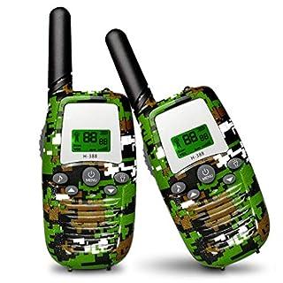 Aiskki 2X Walkie Talkie Kinder Funkgerät Set 16 Kanäle 1-3KM Reichweite LC-Display 2-Wege Radio mit LED-Taschenlampe Walki Talki Geschenke Spielzeug, Camouflage
