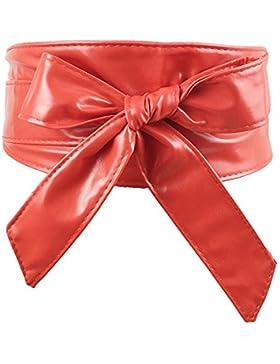hibote Faux PU Leather Mujers Wrap Around Tie corset Cinturón cintura cinturón ancho