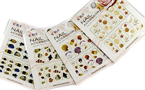 Sea Shell e Pesce Nail Art Water Tattoo Sticker - confezione da 4