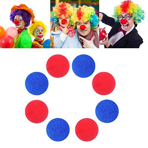 e Schaum Clown Nase Neuheit Schaum Clown Nase Karneval Cospaly Party Favors 5 cm in Durchmesser (Rot + Blau) ()
