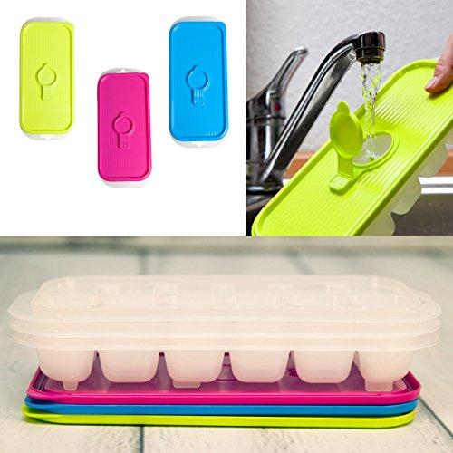 Eiswürfelform stapelbar- 3 Stück im Set á jeweils 18 Würfel mit easy to fill System - mit Deckel in verschiedenen, trendigen Farben