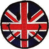 Uk Inglaterra Gran Bretaña sonriente Patch '7.5 x 7.5 cm' - Parche Parches Termoadhesivos Parche Bordado Parches Bordados Parches Para La Ropa Parches La Ropa Termoadhesivo Apliques Iron on Patch Iron-On Apliques