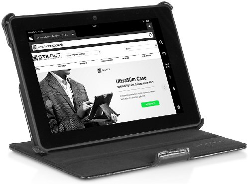 Ohne Kindle Kamera-tasche Fire (StilGut UltraSlim Case V2, mit Stand- und Präsentationsfunktion für Amazon Kindle Fire HDX 7-Tablet , schwarz)