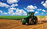DekoShop Selbstklebende Textil Fototapete Moderne Wanddeko Wandaufkleber Wandsticker Grüner Traktor auf dem Feld AMD1909T4 T4 (254cm. x 184cm.)