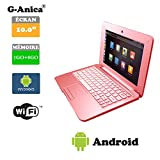 G-Anica 10.1-inch Full-HD Laptop (WIFI, Webcam, Dual-Core 1GB RAM, 8GB ) with Android 4.4.2 Netbook (Pink)