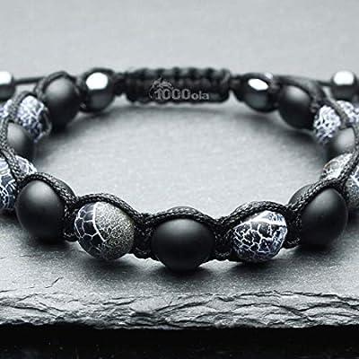 Bracelet Homme Taille 21-22cm Style Shambala Perles Ø 10mm pierre naturelle agate onyx mat noir, Agate Toile d'araignée BRATUTAN16