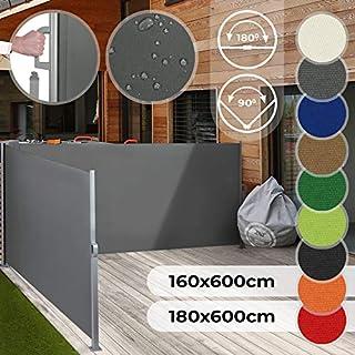 Jago Doppel Ausziehbare Seitenmarkise für Balkon Terrasse Garten   Farbauswahl/Größenauswahl 160x600cm 180x600cm   Windschutz, Sichtschutz, Seitenwandmarkise, Seitenrollo, Sonnenschutz