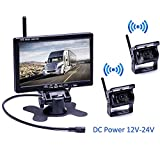 Podofo Wireless Backup Camera Kit DC 12V-24V Waterproof 7 Inch Screen Vehicle Monitor Parking Assist Night Vision Rear View Camera IR for Bus, Truck, Caravan, Agricultural vehicle