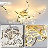 Futuristische LED Deckenlampe Moskau – extravagantes Design mit gedrehten Lichtleisten – Zimmerlampe für Wohnzimmer – Schlafzimmer – Strahler aus Metall in Nickel matt – 3000 Kelvin – 3600 Lumen