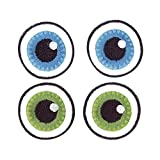 Rayher Hobby 69023000  Stoff Aufbügelmotiv Basic Eyes, 3 cm Durchmesser, SB-Beutel 2-Paar, blau / grün