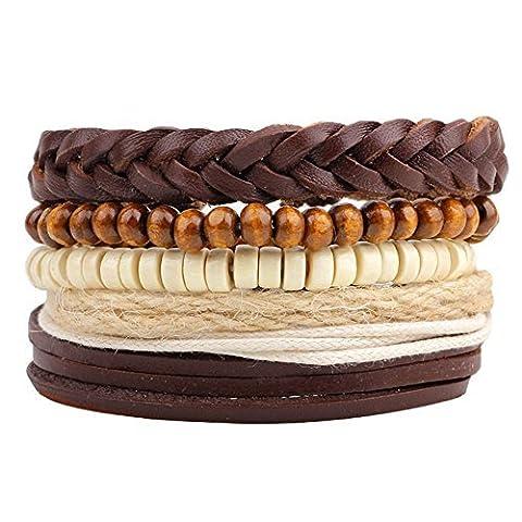 Winter Secret de religieux cinq combinaisons Cuir tressé à la main Multi brins Marron Bracelet en perles apporte