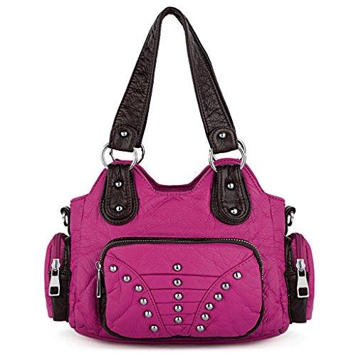 UTO Damen Handtasche Medium Purse PU gewaschen Leder Hobo Stil Niet Besetzt Schultertasche Rose Pink (Hobo Handtasche Stil)