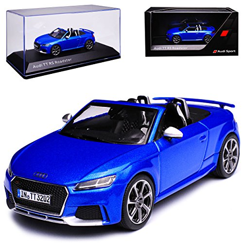 alles-meine GmbH Audi TT RS FV 8S Roadster Cabrio Blau 3. Generation Ab 2014 1/43 Kyosho i-Scale Modell Auto mit individiuellem Wunschkennzeichen