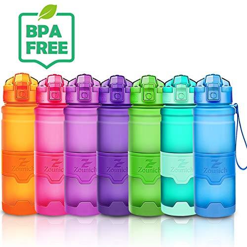 ZOUNICH Trinkflasche 1L Sport BPA frei Auslaufsicher 700ml/500ml/400ml Wasserflasche Kunststoff Sporttrinkflaschen für Kinder Schule, Joggen, Fahrrad, öffnen mit Einer Hand Trinkflaschen Filter Liter -