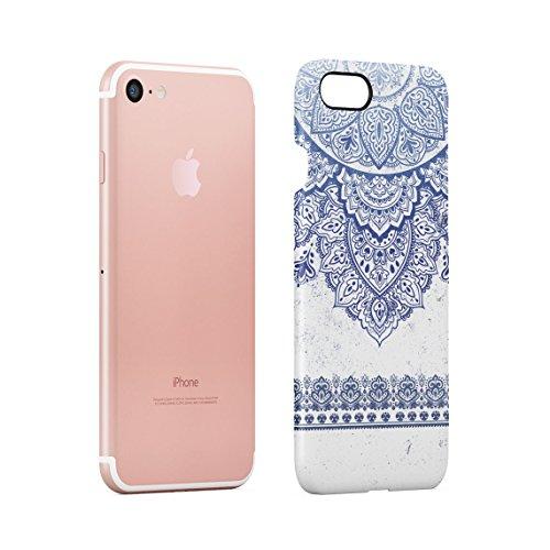 Henna Golden Ornamented Mandala Custodia Posteriore Sottile In Plastica Rigida Cover Per iPhone 7 & iPhone 8 Slim Fit Hard Case Cover Crimson Blue Mandala