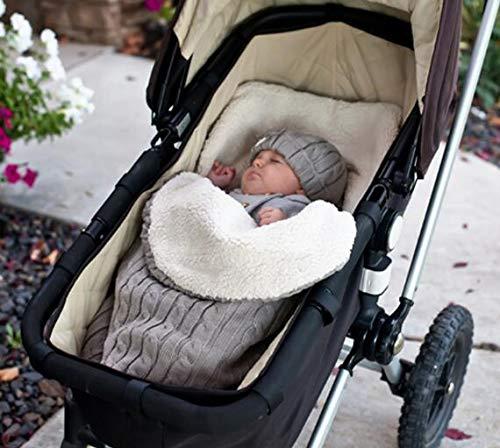 Mengqiy -  Manta para bebé recién nacido,  gruesa,  para bebé y niño,  suave y cálida,  manta de forro polar,  saco de dormir,  cochecito unisex para bebés de 0 a 12 meses,  color gris