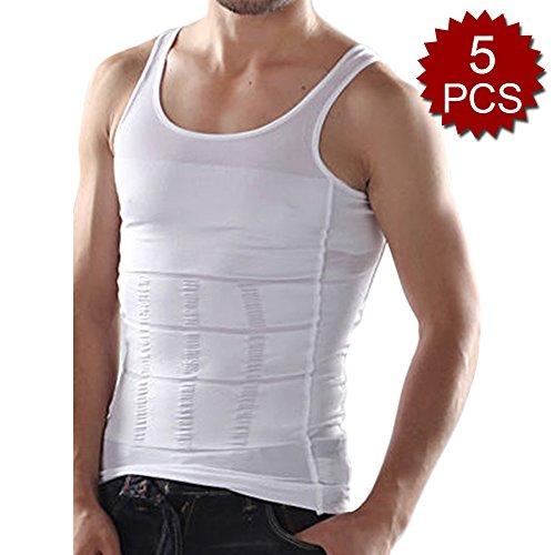 TopTie Herren 5Stück Abnehmen Body Shaper Bauch Taille Weste Shirt Bauch Slim, Muscle Tank L Weiß (Slim Shaper Nylon)