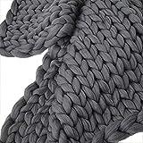shuhong Hand Klobig Gestrickte Decke, Warme Weiche Handgemachte Arm Gestrickte Decke Klobige Baumwolle Dicke Linie Home Decor,Grey-200 * 200cm