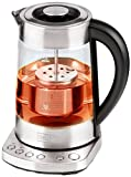 Trebs 99270 2 in 1 Wasserkocher und Teebereiter (2200 Watt, Glasgehäuse mit Temperatureinstellung, Warmhaltefunktion, max. 1,7 l, Edelstahl)