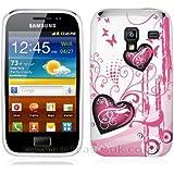 Etui de créateur pour Samsung Galaxy Ace 2 i8160 - Etui / Coque / Housse de protection blanc en TPU/gel/silicone avec motif coeur roses