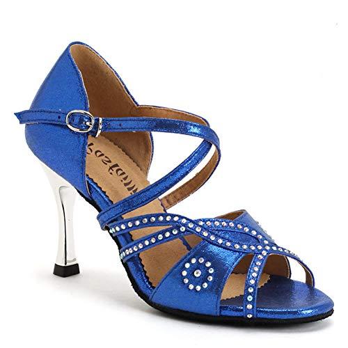 Wshyrabbit Tanz Schuhe Latin Frauen Salsa Schuhe Tanzen Party Hochzeit Ballroom Dance Schuhe Gesellschaftstanz Schuhe Blau Pink 36-39,Blau,39