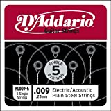 D'Addario Corde seule en acier pur pour guitare D'Addario PL009-5, .009, pack de 5