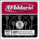 Corda singola PL009-5 in acciaio per chitarra.009, set di 5 corde