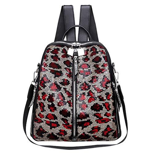 LHWY Mochila portatil Bolso de mano Bandolera Informal Bolso de mujer Mochila Bolsa de leopardo Bolsa de viaje Bolsa de gran capacidad para estudiantes de clase media rojo