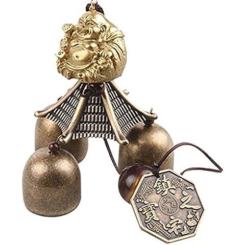 Buddha Cinese Monete Lucky Feng Shui in metallo ciondolo a vento