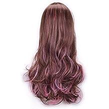Vococal - 70CM Peluca de pelo para mujer,Largo Rizado Fibra Pelucas Disfraz Baratas onduladas