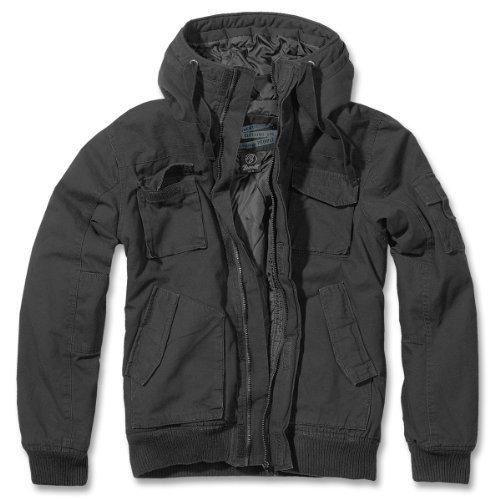 Brandit Bronx-Men's-Giacca invernale con cappuccio-Giacca Bomber B-3107 nero Large