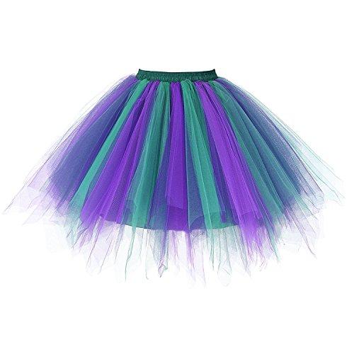 euheiten Tutu Unterkleid Rock Ballet Petticoat Abschlussball Tanz Party Tutu Rock Abend Gelegenheit Zubehör Violett und Grün (Bane Halloween-party)