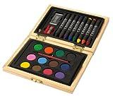 Kinder Malset im Holzkästchen bestehend aus 8 Wachsstiften, 12 Wassermalfarben und 1 Pinsel, 1 Bleistift, 1 Anspitzer, 1 Radiergummi