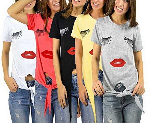 Bigood Sexy T-shirt Femme Chemise Top Manche Courte Haut Col Rond Lèvre Imprimé Soirée Casual Noir