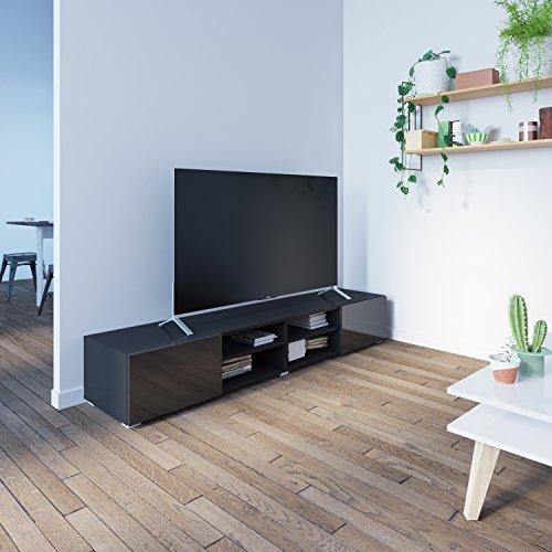 Meuble TV-LOGO-1 Tiroir-Corps blanc et noir-façade blanche laquée brillante-120 cm/3254A0219L02