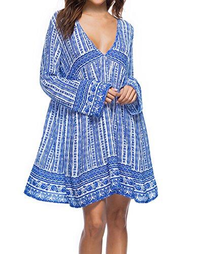 Kidsform Robe Boheme Femme Chic Ete Robe de Plage Manches Longues Chemisier Grand Taille, Bleu, XX-Large