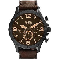 FOSSIL Nate / Montre chronographe homme avec grand cadran et bracelet vintage en cuir brun - Boîte de rangement et pile incluses