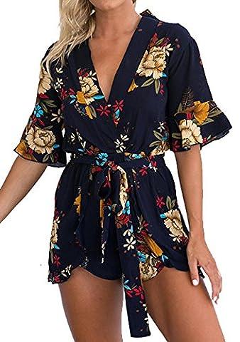 Frauen Jumpsuits Blumen Print Playsuit V-Ausschnitt Einteiler Freizeithose Kurzarm Lose Romper Hotpants Strandoverall