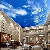 CHI Papel Pintado Pintura Azul Cielo Nubes Blancas Techo Mural De Pared Diseños Modernos Sala De Estar En 3D Dormitorio Techo, 400 * 280 Cm
