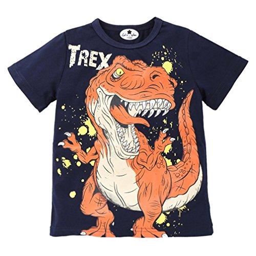 Momola Children's Dinosaur Short Sleeve T-Shirt Tops Toddler Baby Boys Tyrannosaurus Rex Cartoon Printed Infant Kid Tee Shirts